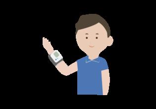 血圧測定する男性のイラスト
