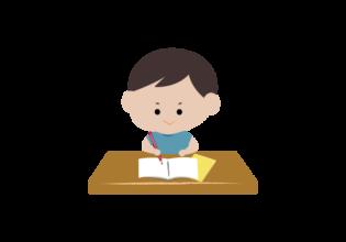 宿題をする男の子のイラスト