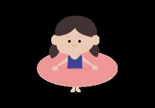 浮輪と女の子のイラスト