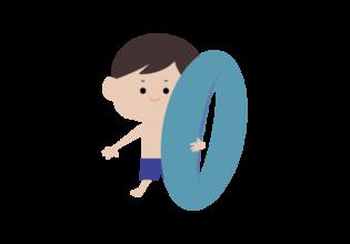 浮輪を持った男の子のイラスト