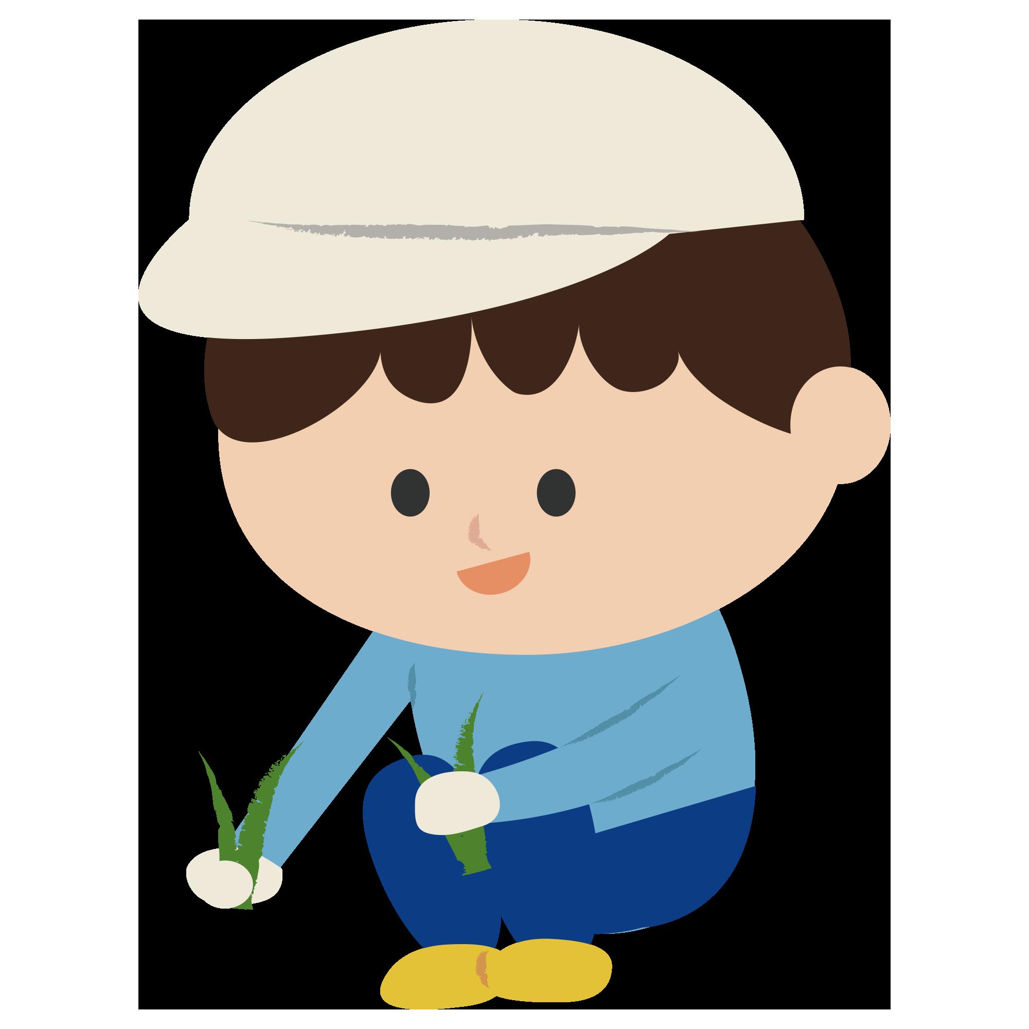 草むしりをする男の子|イラスト素材館